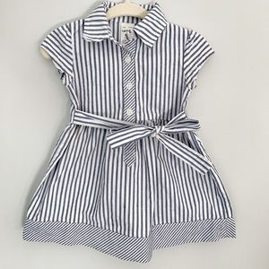 Nautical blue and white striped baby girl dress 9m